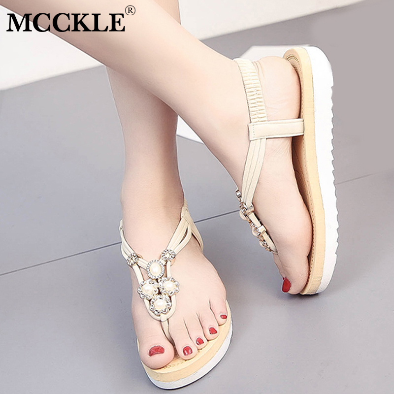 MCCKLE Bohemia Flip Flops Women Sandals With Platform Summer Beach Shoes For Girls Casual Metal Decoration Back Strap Shoe 2017 new women gladiator sandals bohemia fashion girls platform sandals casual summer shoes woman wedges beach sandals 7778w