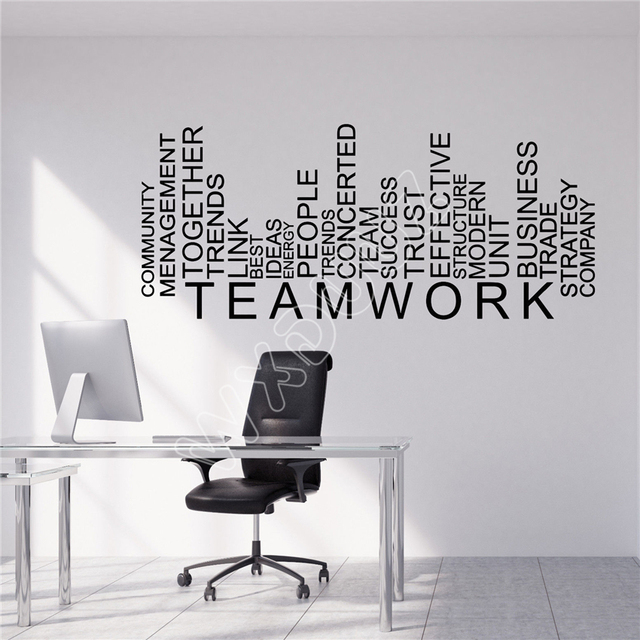 Wxduuz vinyl wall decal teamwork words business office decor stickers kitchen living room vinyl wall sticker