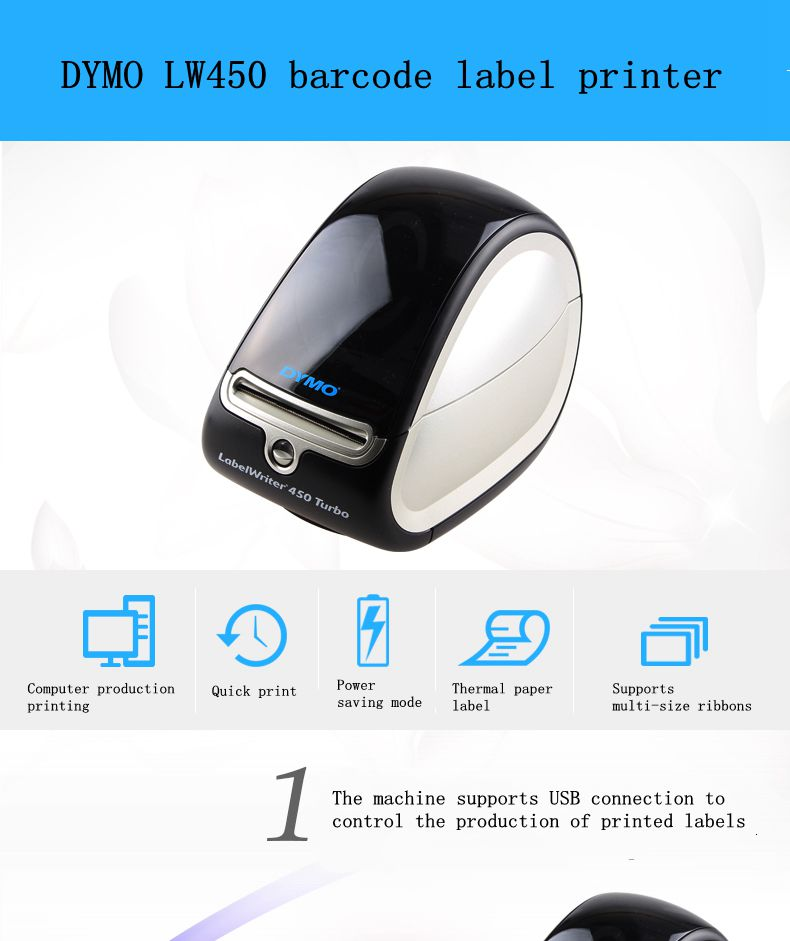 US $136 0 |barcode printer jewelry label printer for Dymo LW450Turbothermal  label machine sticker tape label machine name badge typewriter-in Printer