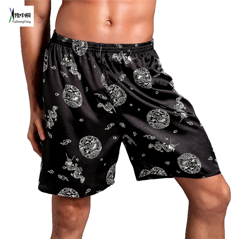 Hot Sale Chinese Men's Satin Pajamas Pyjamas Pants Male Casual Lounge Short Pants Vintage Print Sleep Bottoms M L XL 2XL TBG0613