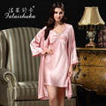 new 2016summer women Sexy lace long-sleeve pure silk sleepwear robes female european large silk robe&gown set night lounge