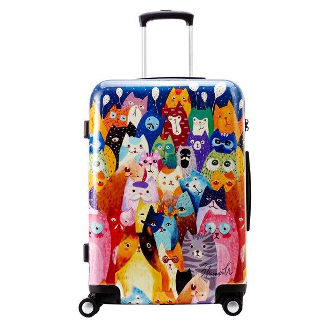 "Personalized Fashion Cat Print Luggage Women Cartoon Animation Travel Suitcase PC Universal Wheels Trolley Luggage 20"" 24"" 28"""