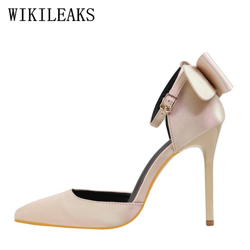 bow silk satin shoes woman pink red high heels mary janes wedding shoes italian euros pointed toe summer sandale femme ete 2017