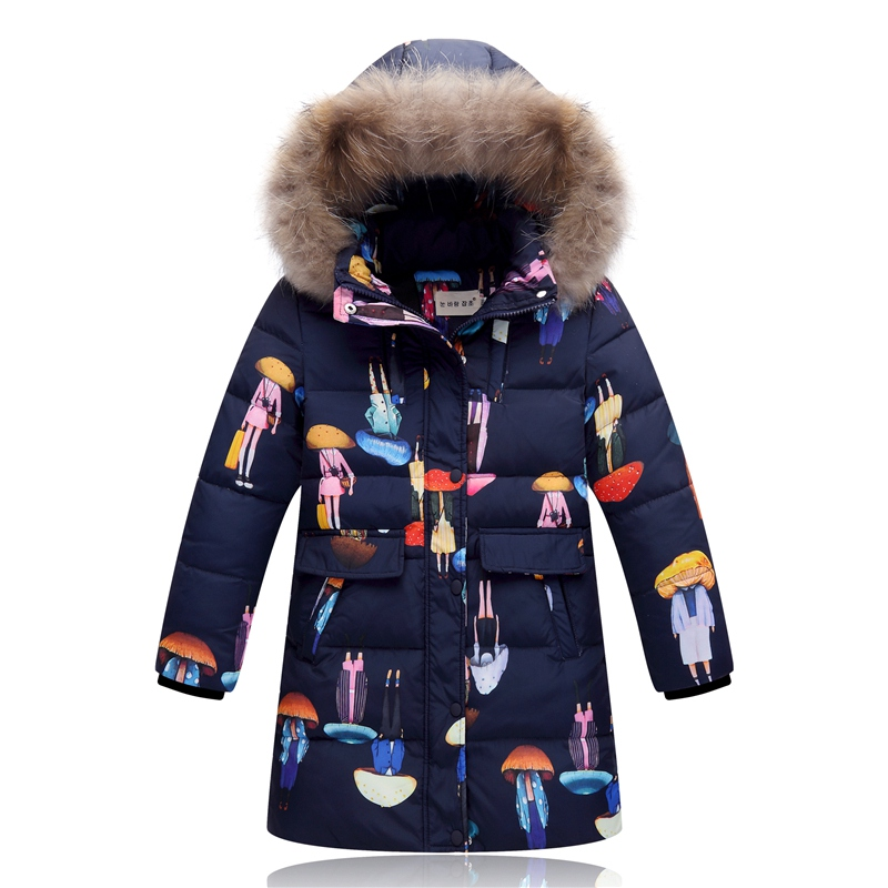2017 Winter Fashion Girl Children Thick Long Down Jackets Kids real fur Warm Down Coat Girl Cloth Children Outerwear -30degree the hot sell brand new children baby girl fur winter warm coat cloak jacket thick warm cloth with fleece big ears