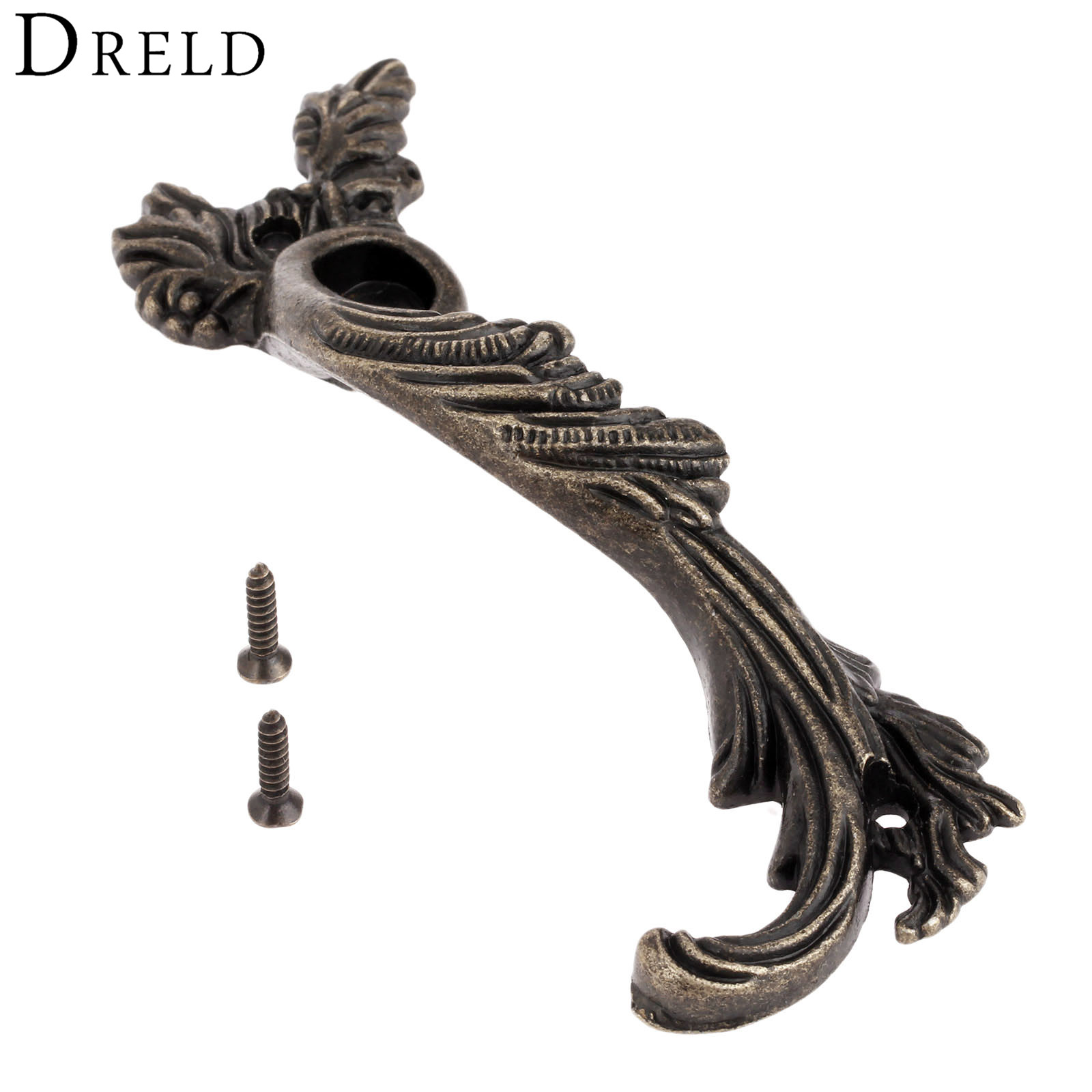DRELD 1Pc Antique Furniture Handle Cabinet Knobs and Handles Drawer Kitchen Cupboard Vintage Pull Handle Furniture Fittings 98mm dreld furniture handle modern cabinet knobs and handles door cupboard drawer pull handle for kitchen bedroom furniture hardware