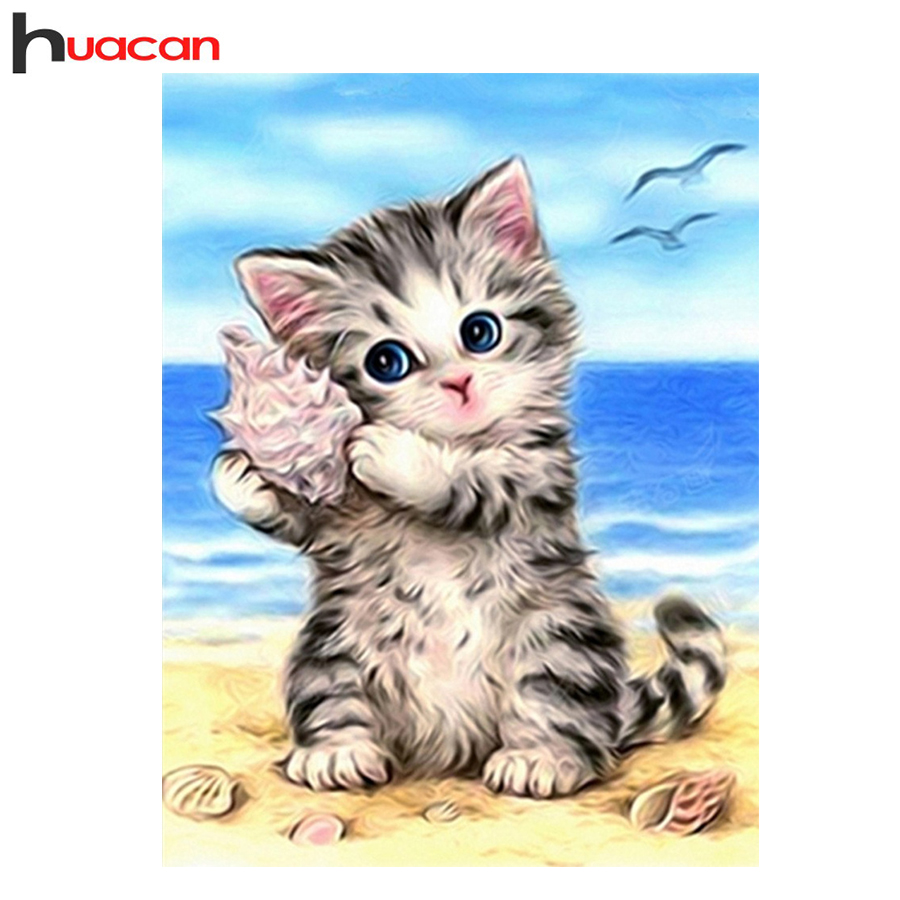 HUACAN 5D Diamond Painting Cross Stitch Diamond Embroidery Cat Full Square Rhinestones Pattern Home Decoration ասեղ Արհեստ և արվեստ
