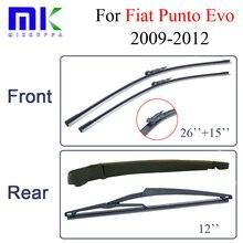 Car Silicone Windscreen Wiper Blades For Fiat Punto Evo,2009-2012,Windshield Bracketless Rubber Brush Accessories Auto Parts