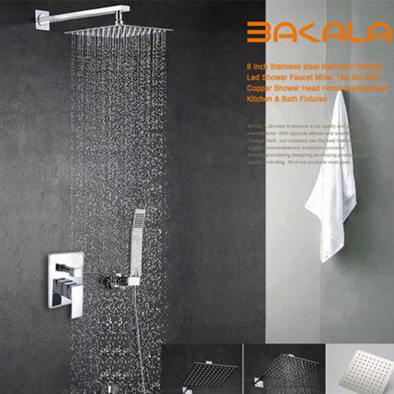 10 Sets BAKALA Luxury 16 Stainless Steel Bathroom rain shower faucets head shower set with hand shower bakala luxury 8 10 12 16 inch stainless steel ceiling mount bathroom rain shower faucets head shower set with hand shower br cp