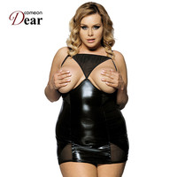 R70338 Best Selling 2015 New Leather Lingerie Cupless Fuax Leather Sexy Clothes Black See Through Mesh