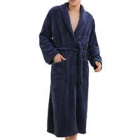 Free Shipping 2016 Hot Thicken Coral Flannel Bath Robe Winter Autumn Casual Nightgown Long Bathrobe Men