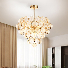 Modern Glass Chandelier LED American Gold Chandeliers Lights Fixture Living Room Bed Room Hang Lamp 3 White Light Color Dimmable
