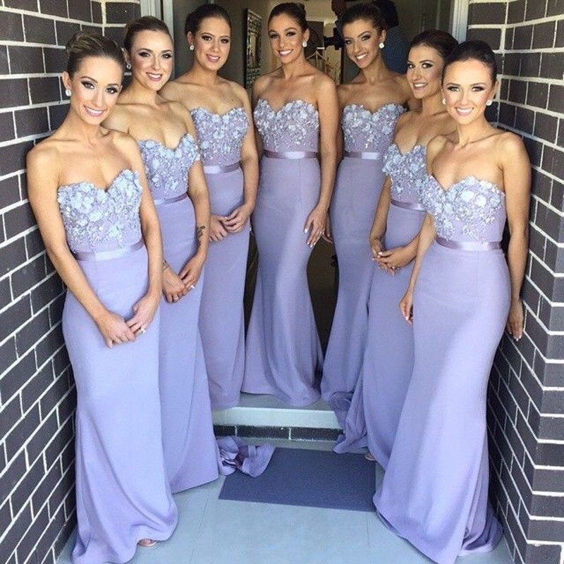 Blue Silver And Purple Bridesmaid Dresses