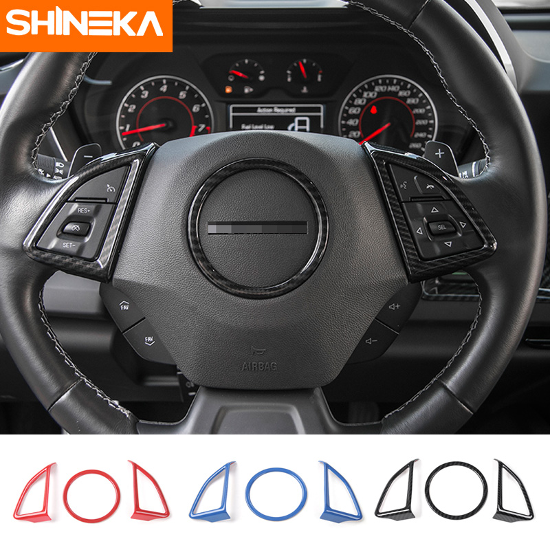 SHINEKA Car Styling Steering Wheel Cover Decorative Trim Sticker Frame for Chevrolet Camaro 2017+ carbon fiber abs sticker steering wheel trim button switch panel frame cover sticker accessories for honda civic 2016 2017