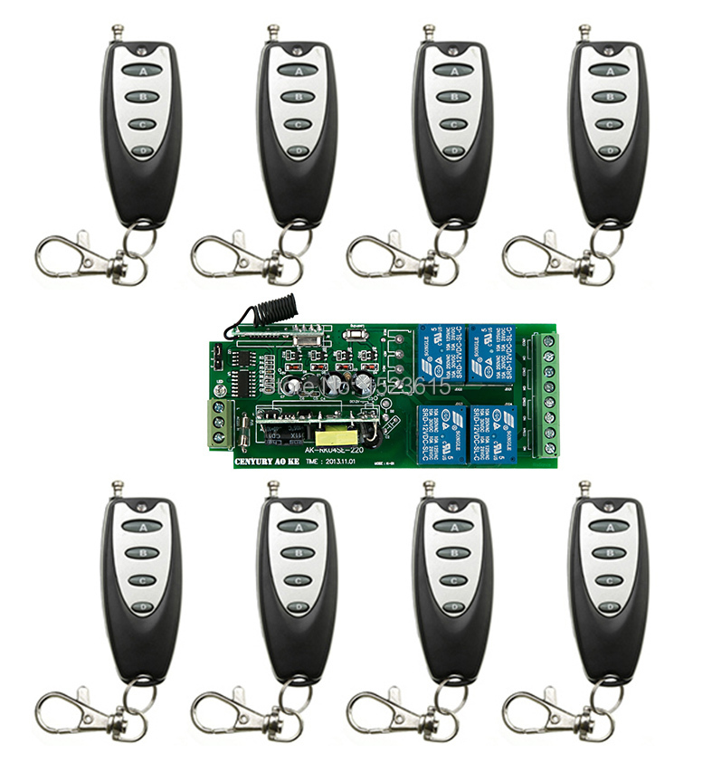 85v~250V 4CH RF Wireless Remote Control Relay Switch Security System Garage Doors or Electric Doors 1 x Receiver&8x Transmitter 85v 250v 4ch rf wireless remote control relay switch security system garage doors receiver mahogany color transmitter