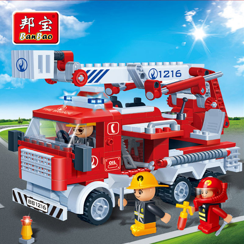 Banbao 8313 - 290pcs Fire Fighting Ladder Truck Building Block Sets Educational DIY Bricks Toys Christmas Kids gift
