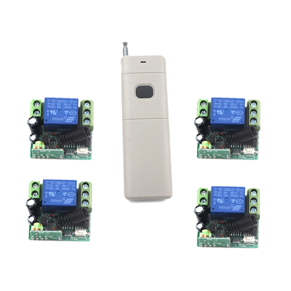 MITI-DC 12V 1channel 10A rf wireless remote control switch system 4Receiver&1Transmitter 315MHZ/433 MHZ SKU: 5379 ac 220v 1channel 10a rf wireless remote control switch system 4 receiver