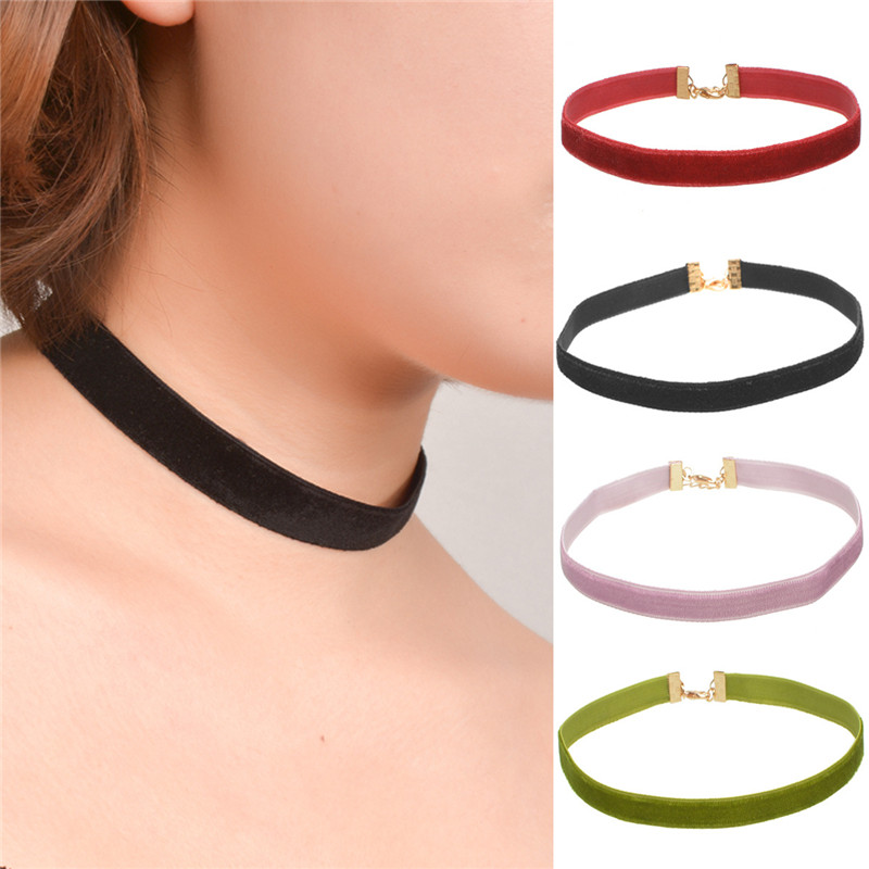H:HYDE Women Party Jewelry Accessories simple popular Fashion elements all-match Velvet Choker Necklace 1cm/1.5cm Width Hot Sale