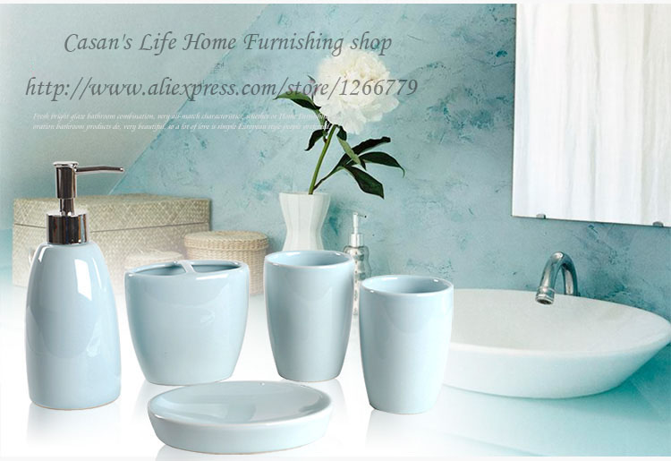 European simple style ceramic glaze 5 piece of bathroom sets,bathroom products,toothbrush/gargle cup/lotion bottle/soap dish
