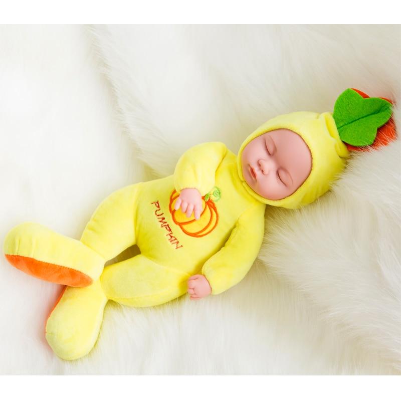 Lembut Silikon Vinil Boneka 35 cm Boneka Reborn Bayi perempuan Katun Tubuh Manusia Hidup Bebe Bayi Mainan Buah Boneka Lucu Kawaii boneka