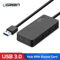 Ugreen All in One USB Sound Card with 3 Port USB 3.0 Splitter External 3.5mm USB Adapter Audio Interface for Computer Audio Card