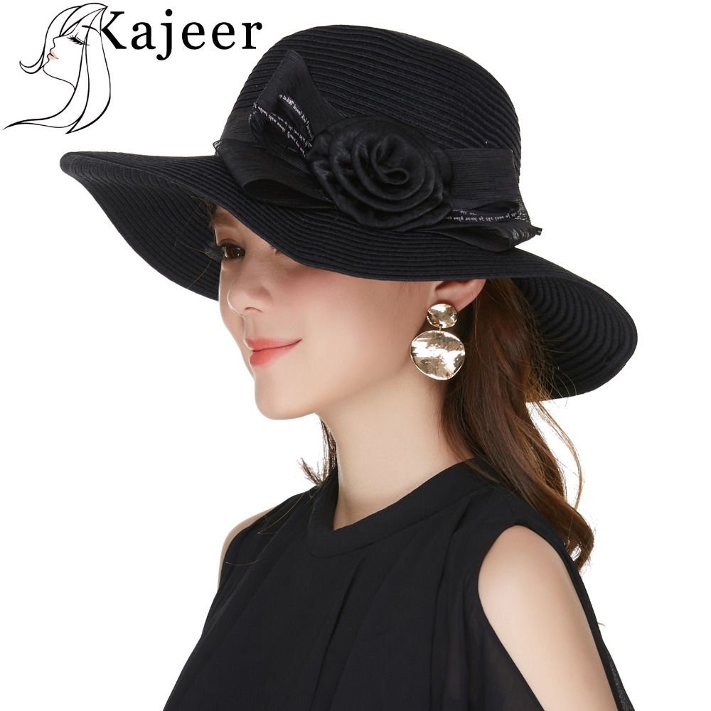 e8bd5d8f57a Detail Feedback Questions about Kajeer Fashion Black Boho Summer Beach Hat  For church Women Straw Sun Hat Vacation Party Elegant Visor Chapeau Femme  Panama ...