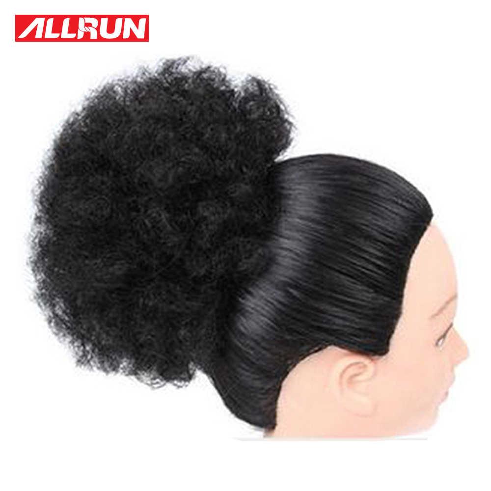 Alta Puff Afro rizado peluca Cola de Caballo cordón corto brasileño Pony cola Clip en pelo humano rizado Remy humano bollo de pelo