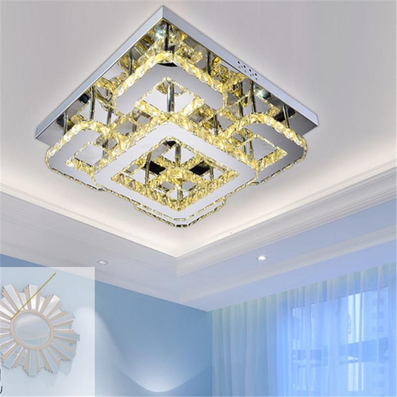 Modern Led Remote Control Rectangular Crystal Ceiling