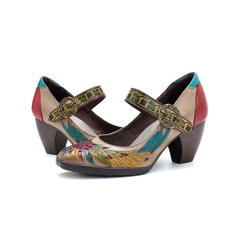 Casual Dipinti Mano A Fiori Grandi Alti Alto Dimensioni Mid Jane Brown Modo Da Originale tacco Femminile Mary Cucito Scarpe Di Donna Tacchi tSwzaqx