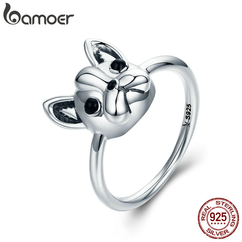 BAMOER Hot Sale 100% 925 Sterling Silver Loyal Partners French Bulldog Dog Animal Female Ring for Women Fashion Jewelry SCR261