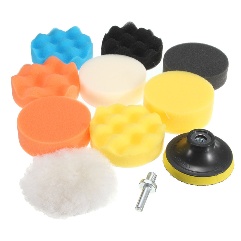 Useful 10pcs/set 3inch/80mm Buffing Pad Polishing Pad Kit For Car Polisher Psds M10 Thread Abrasive Tools Polishing Pads Tools