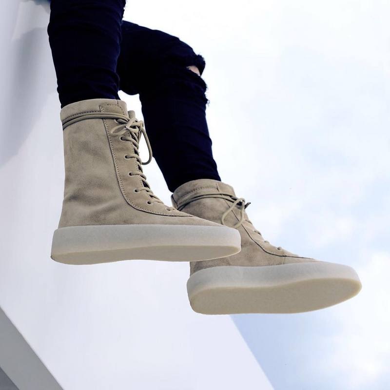 Please Compare With Lower Price Motorcycle Boots Men Genuine Leather Boots Kanye Weat AEMBOTIONEN Brand Season2 Collection Stage