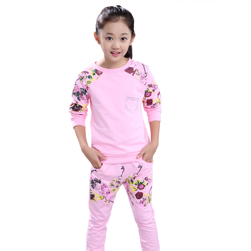 Girls Tracksuits Costume 100% Cotton Spring &Autumn Sportswear Outfits Girls Sports Suits Clothing Sets For 5 6 8 10 12 14 Year tracksuit girls sports suits fashion toddler girl clothing sets 2018 spring autumn sequin outfit clothes size 4 6 12 14 year