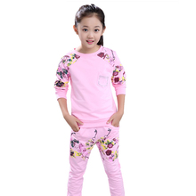 Girls Tracksuits Costume 100% Cotton Spring &Autumn Sportswear Outfits Girls Sports Suits Clothing Sets For 5 6  8 10 12 14 Year цена