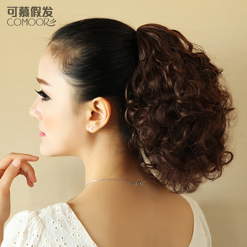 Fashion Short Curly Claw Clip Ponytail Blonde Synthetic -7238