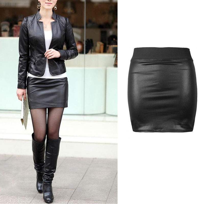 Sexy Women Bodycon Skirt Pu Leather Mini Short Skirt Black -1196