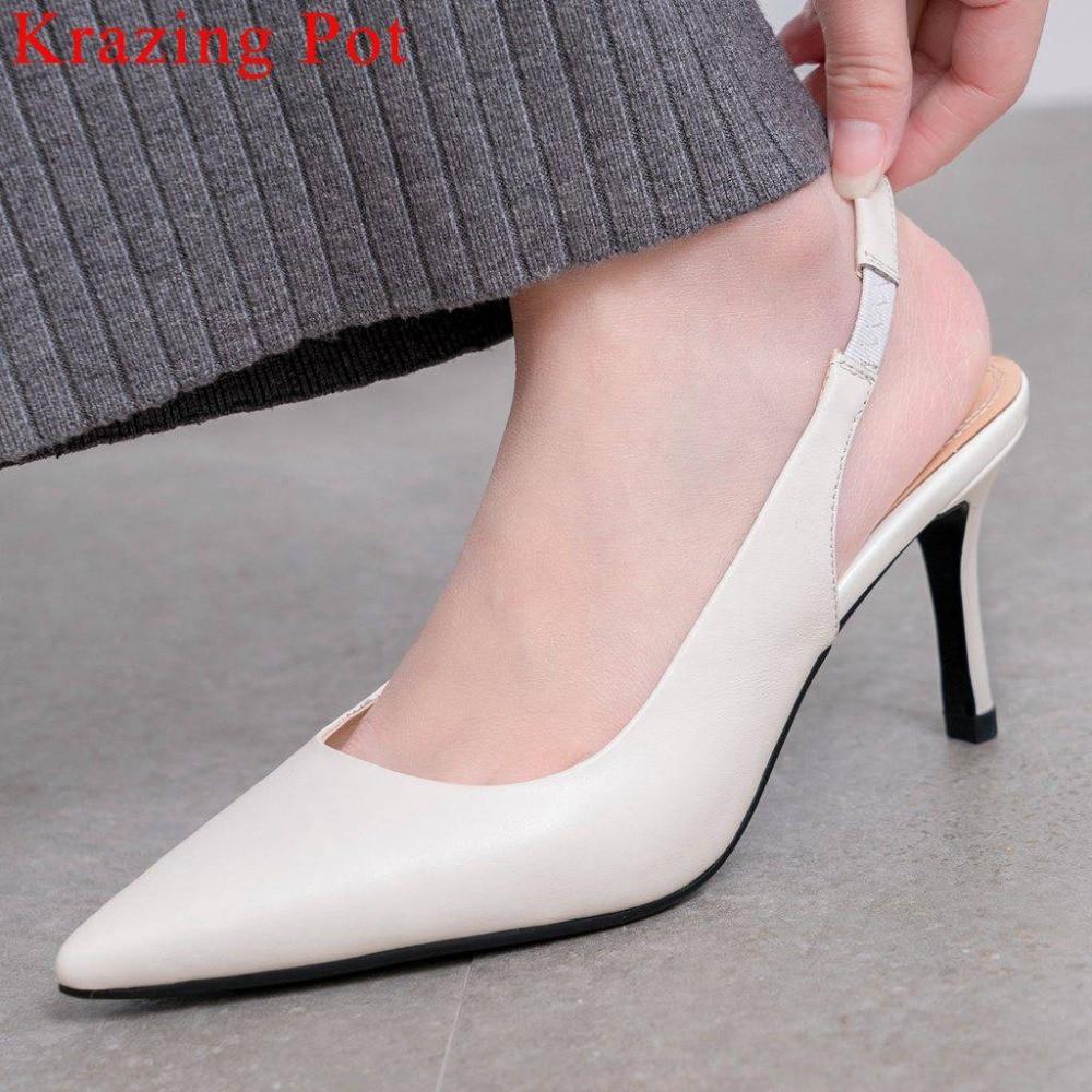 Pretty girls fashion runway stiletto heels genuine leather pointed toe Hollywood movie stars slingback summer brand