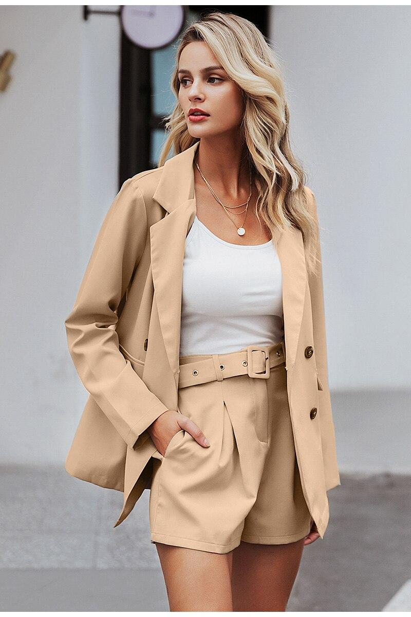 Simplee Elegant two-pieces women short suit Casual streetwear suits female blazer sets Chic 19 office ladies women blazer suit 7