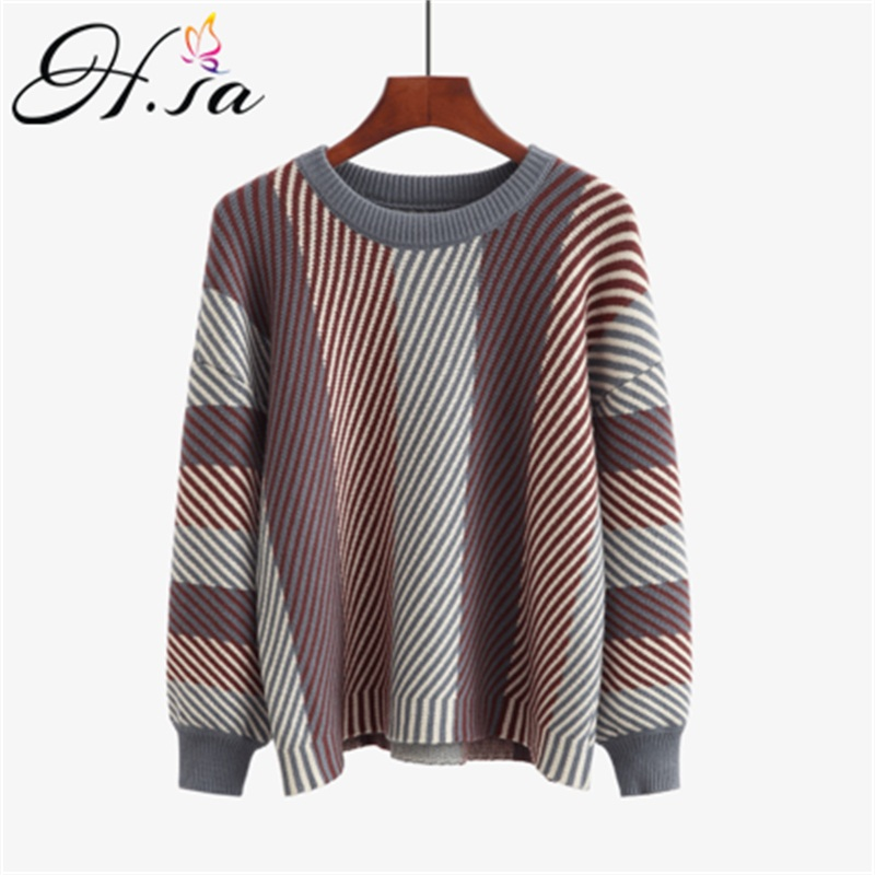 HSA Women Striped Sweater And Pullovers New Autumn Striped Casual Jumpers Knit Chic Sweaters Oversize Vintage Sweater Pull Femme