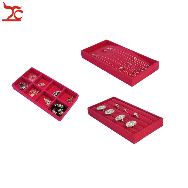 Free Shipping Jewelry Display Case 3Pcs Rose Red Velvet Ring Chain