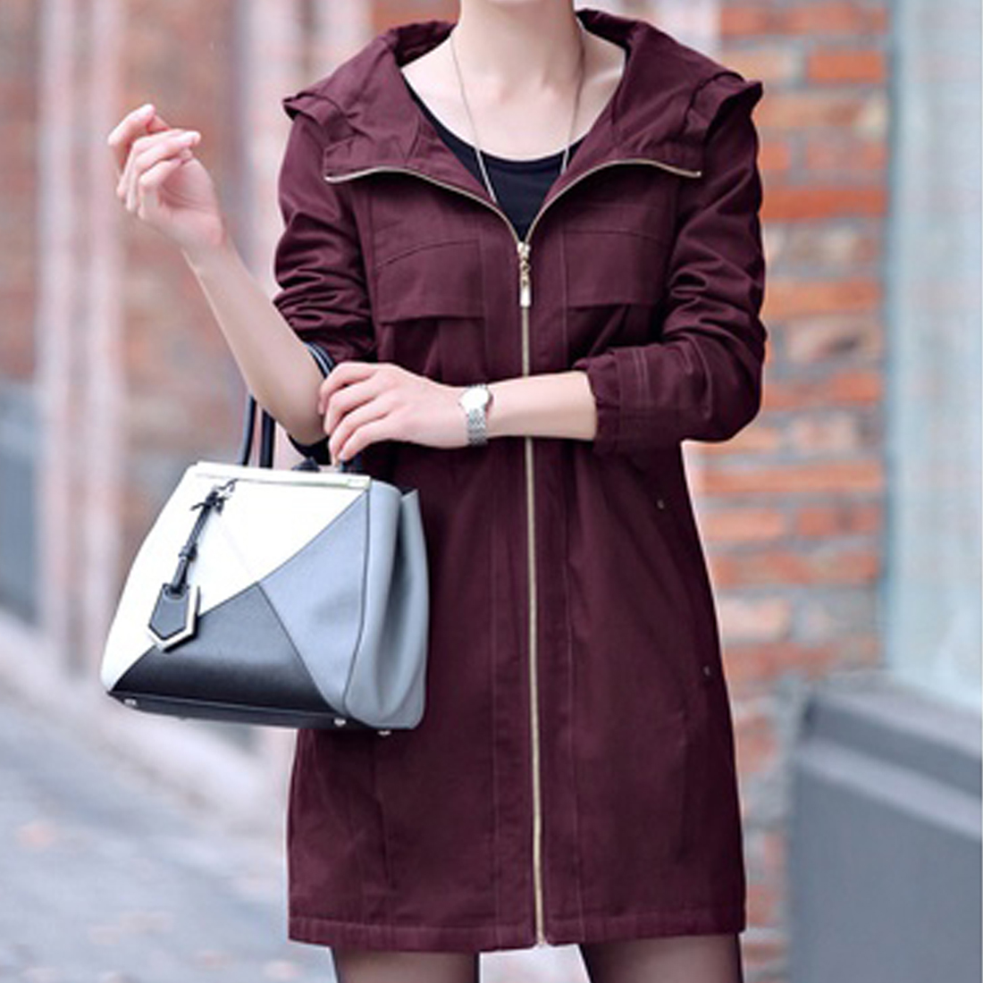 Top Sell Fashion Winter Women's   Trench   Coat With A Hood Warm Cotton Spliced Big Size Windbreaker Female Outerwear