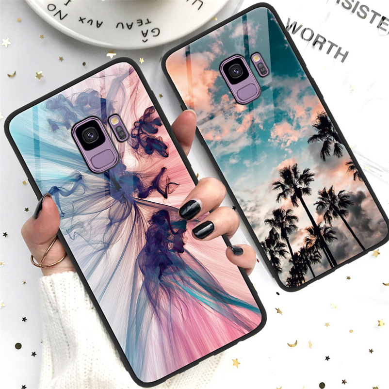 Tempered <font><b>Glass</b></font> For Coque <font><b>Samsung</b></font> Galaxy A50 A70 J4 J6 J5 J7 Prime A6 Plus A8 A7 2018 Note 8 9 S10e S8 S9 S10 Plus M10 M20 <font><b>Case</b></font> image