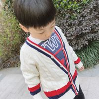 Baby Boys Sweater Spring New Baby Boys White Striped Cardigan Brand Designer