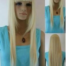 Парик отличный светлый блонд смешанный длинный прямой челка женский парик