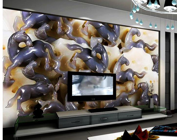 Papier peint 3d personnalisé Jade cheval Mural fond photo murale 3d papier peint 3d peintures murales papier peint pour salon