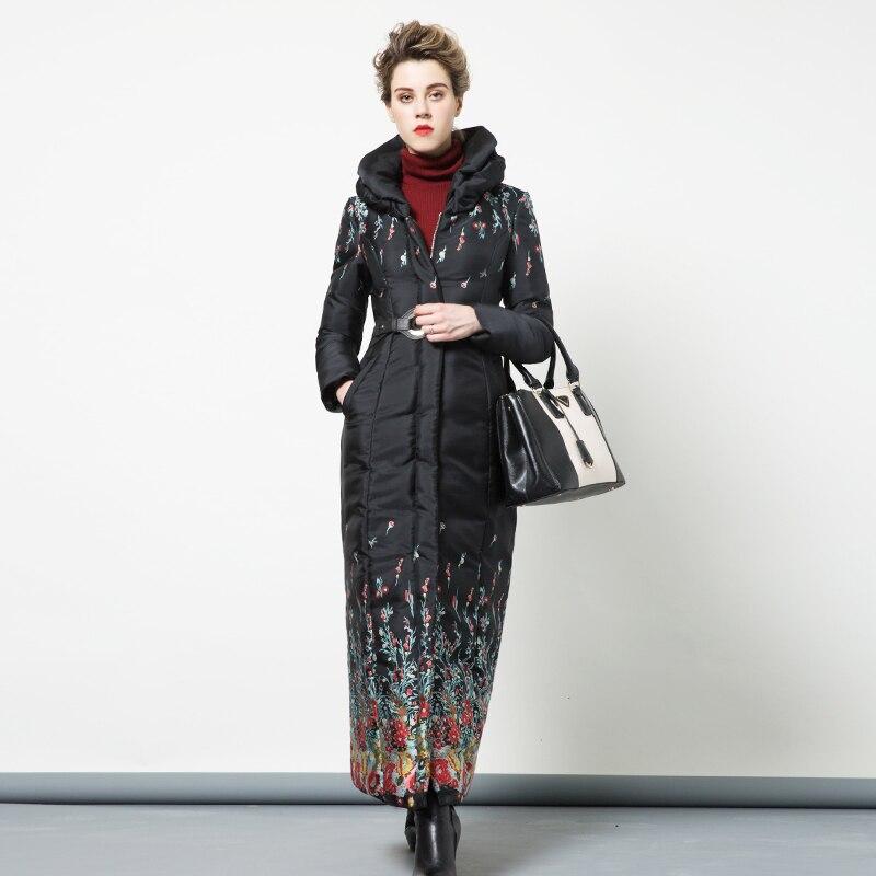 купить High Quality S-4XL Cotton Wool Big Coat Women Printed Flowers Winter Parka Plus Size X long Jacket Warm With Belt DH1051 недорого