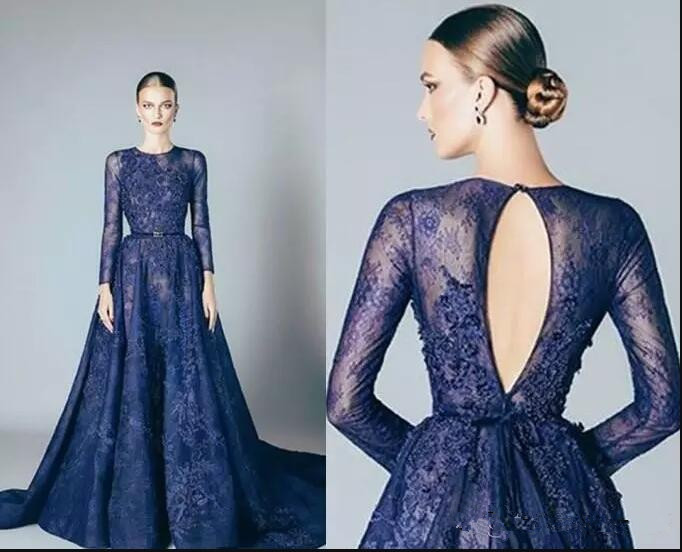 long sleeve Navy Blue Lace Evening Dress kadisua 2017 sexy backless Elie Saab Prom Dresses A Line Applique evening party gowns