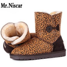LEO Male Female Leopard Grain Snow Boots Men Women Genuine Leather Warm Boots Adults Man Woman Cowhide Winter Warm Shoes