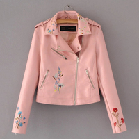 2017 New Fashion Brand Women Embroidery Faux Leather PU Jacket Ladies Short Slim Long Sleeve Zipper Motorcycle Coat