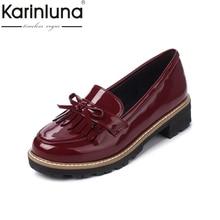 KarinLuna Diseño de Marca Tamaño Grande 34-43 Mujeres Pisos Dulce Bowtie Plataforma de Promoción de la Mujer Zapatos Mocasines de Borla de Alta Qaulity