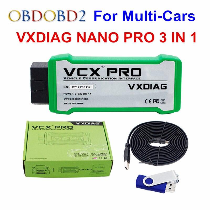 Оригинальный vxdiag Nano Pro 3 в 1 для gm/VW/Ford/Mazda/Toyota/VOLVO/ JLR/Honda VCX 3in1 онлайн-обновление на нескольких языках Бесплатная доставка